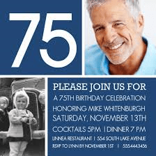 Blue 75th Birthday Photo Invitations