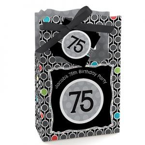 Personalized Black and White Decorations for 75th Birthday Party