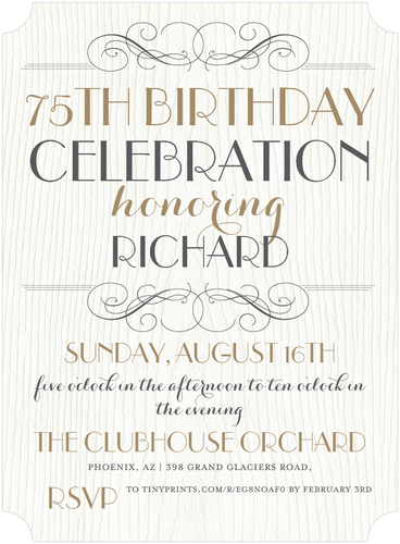 Elegant 75th Birthday Invitations  Birthday Invite Words