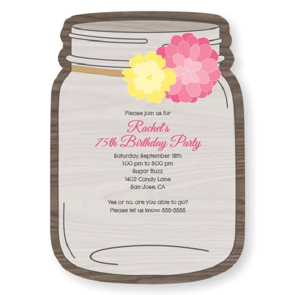 Rustic Floral - Mason Jar Shaped 75th Birthday Party Invitations for Women