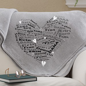 Heart of Love Personalized Blanket
