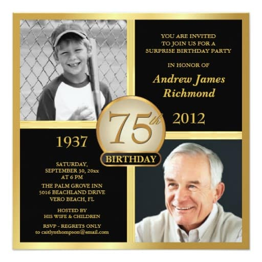 75th birthday invitations 50 gorgeous 75th party invites two photo 75th birthday party invitation choice of colors filmwisefo