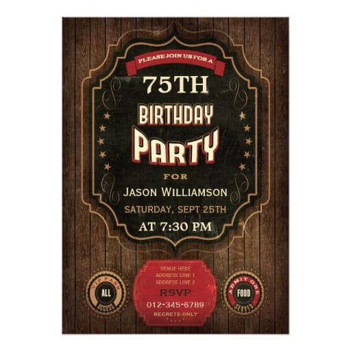 Vintage Style 75th Birthday Party Invitation for Men
