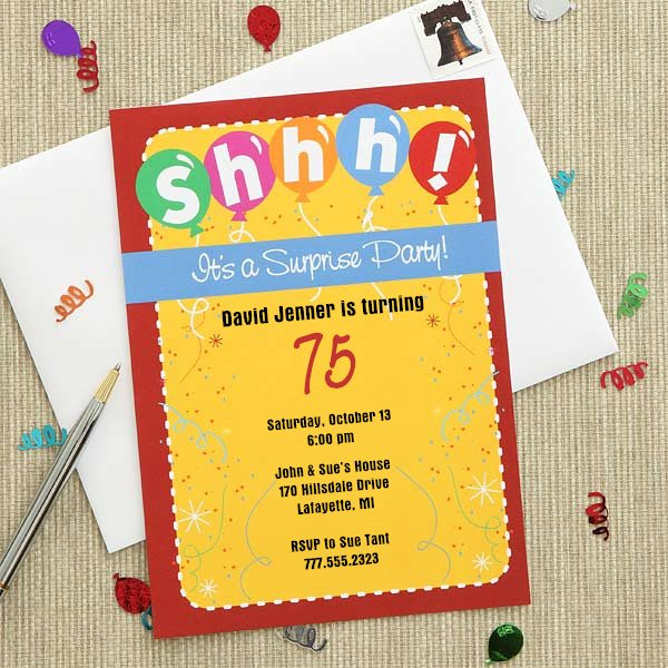 Colorful 75th Birthday Surprise Party Invitations