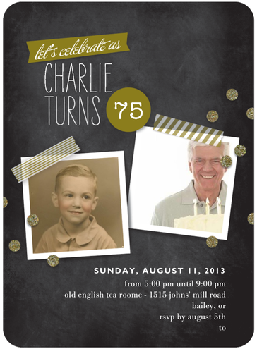 Chalkboard Invitations with Two Photos