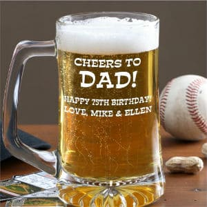 Personalized 75th Birthday Beer Mug for Dad