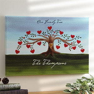 Personalized Our Family Tree Canvas Wall Art