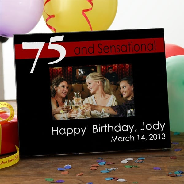 Red and Black Personalized 75th Birthday Frame