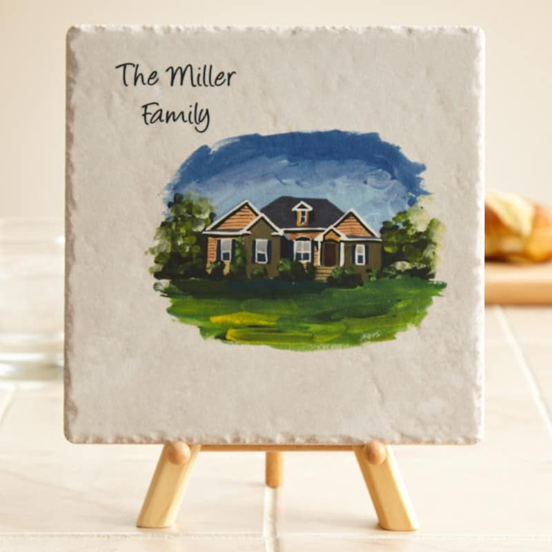 Tile with Painted House
