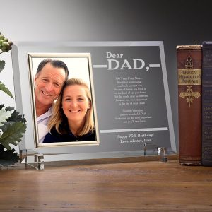 Personalized 75th Birthday Glass Frame for Dad