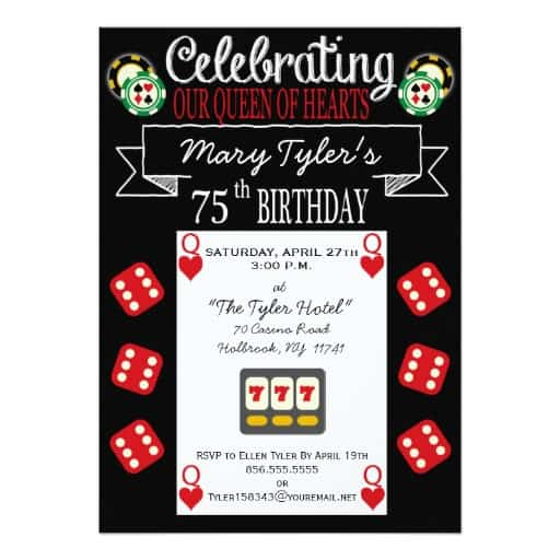 Casino Themed 75th Birthday Invitations