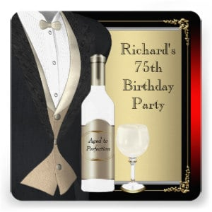 Elegant 75th Birthday Invitations for Men