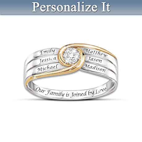 Joined in Love Diamond Ring with Names