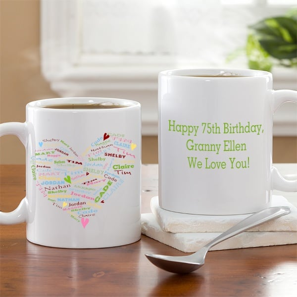 Personalized 75th Birthday Coffee Mug for Grandmother