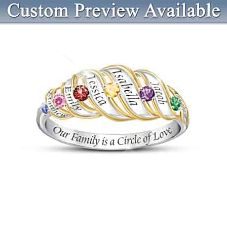 Engraved Family Ring with Names and Birthstones