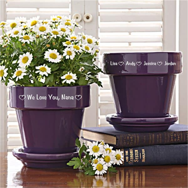 75th Birthday Gift Ideas for Grandma - Delight Grandma with this colorful flowerpot that's personalized with the names of her grandkids.