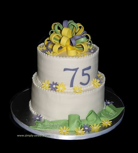 75th Birthday Bow and Flower Cake