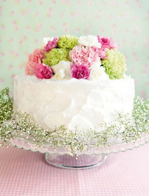 Cake decorated with real flowers