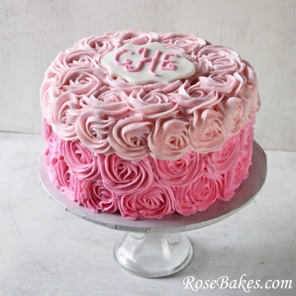 Ombre Rose Birthday Cake