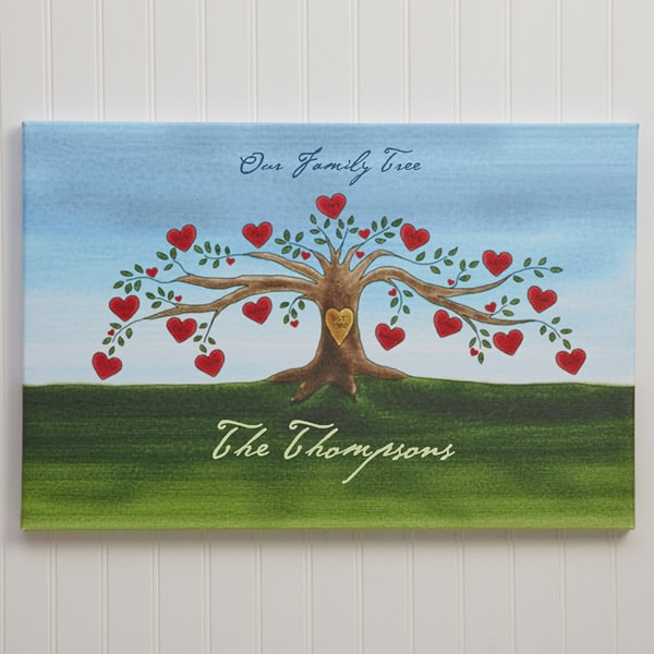 Family Tree Canvas Print with Heart Shaped Leaves
