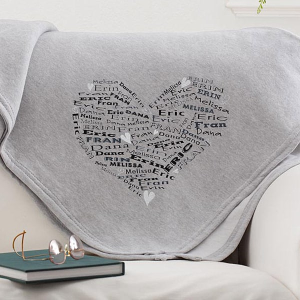 Heart of Love Personalized Sweatshirt Blanket