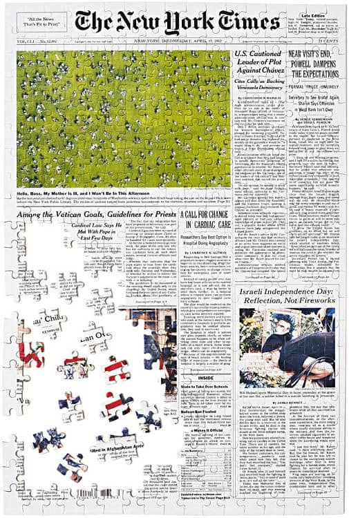Day You Were Born jigsaw puzzle features the front page from the New York Times for any day you choose. Great milestone birthday gift!