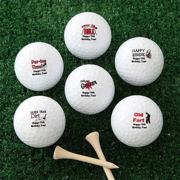 Personalized Over the Hill 75th Birthday Golf Balls