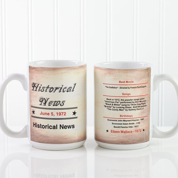 Personalized The Day You Were Born coffee mug - a fun and affordable gift for any milestone birthday!