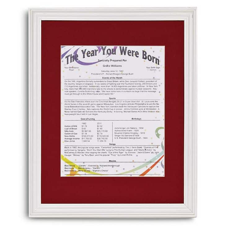 The Year You Were Born Personalized Trivia Print
