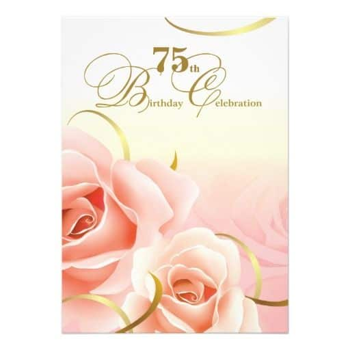 Floral 75th Birthday Celebration Invitations