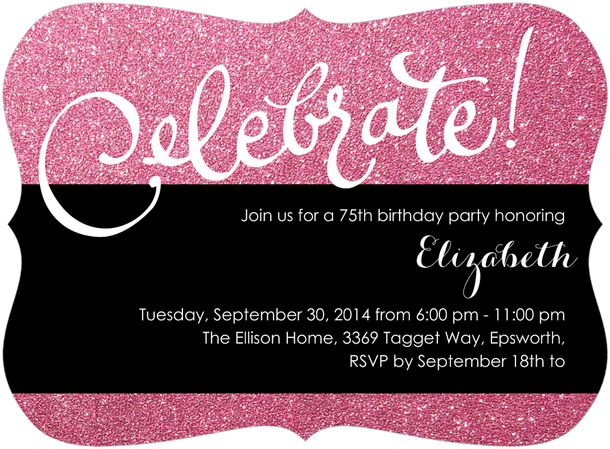 Sparkly Pink 75th Birthday Invitations for Women
