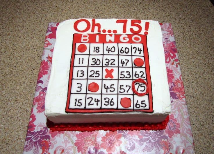 Bingo Themed 75th Birthday Cake