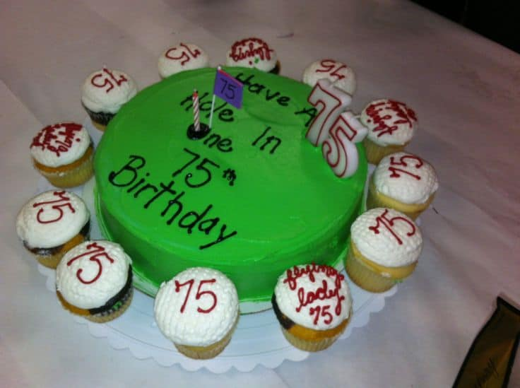 Homemade 75th Birthday Golf Cake