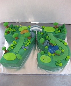 Golf Themed Number 75 Cake