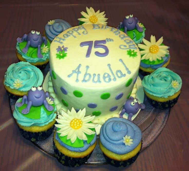 75th Birthday Cake With Cupcakes