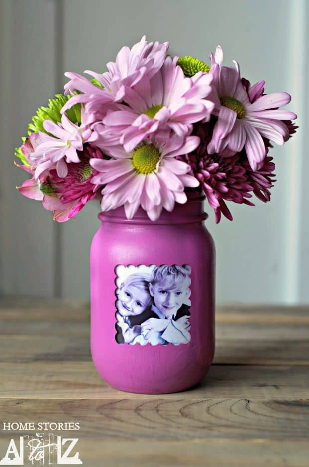 Mason Jar Photo Vase Centerpiece