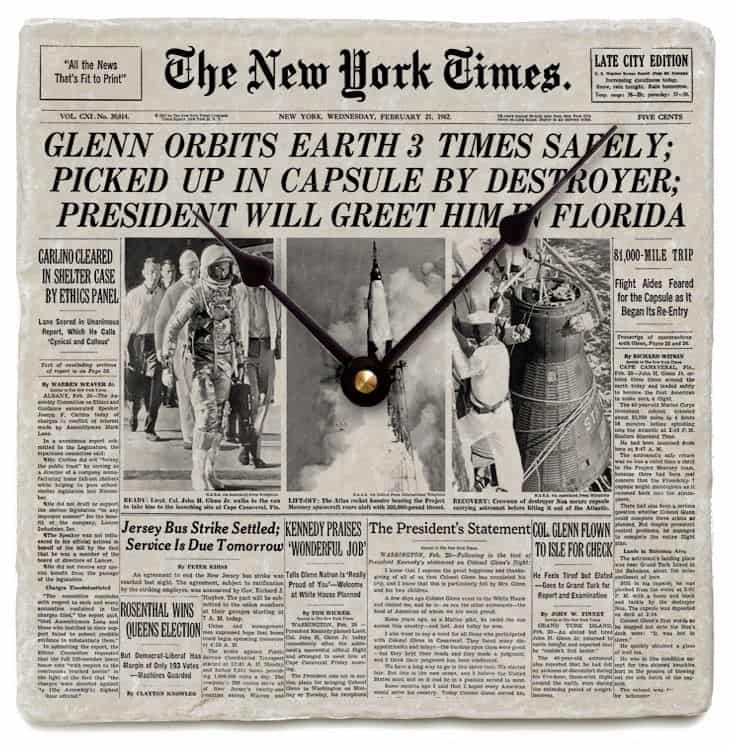 New York Times Front Page Marble Clock