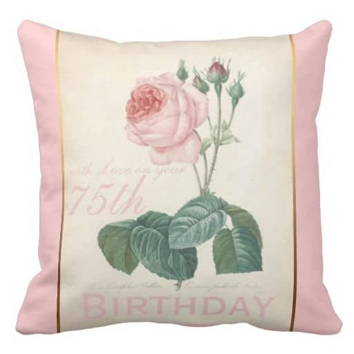 Personalized 75th Birthday Pillow - Celebrate a 75th birthday with a comfortable pillow. A cute 75th birthday gift for the hard-to-shop-for woman.