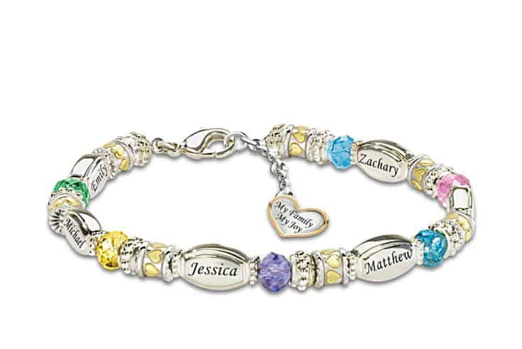 Personalized Birthstone Charm Bracelet with Names