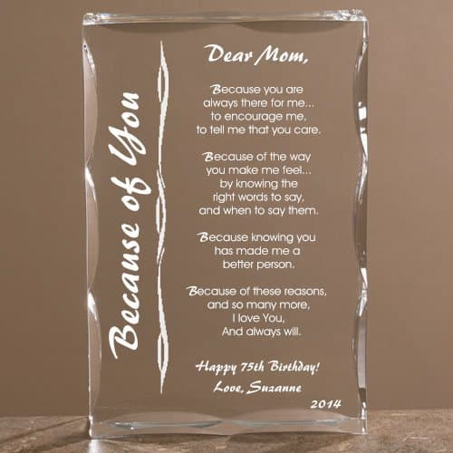 Sentimental 75th Birthday Personalized Keepsake For Mom
