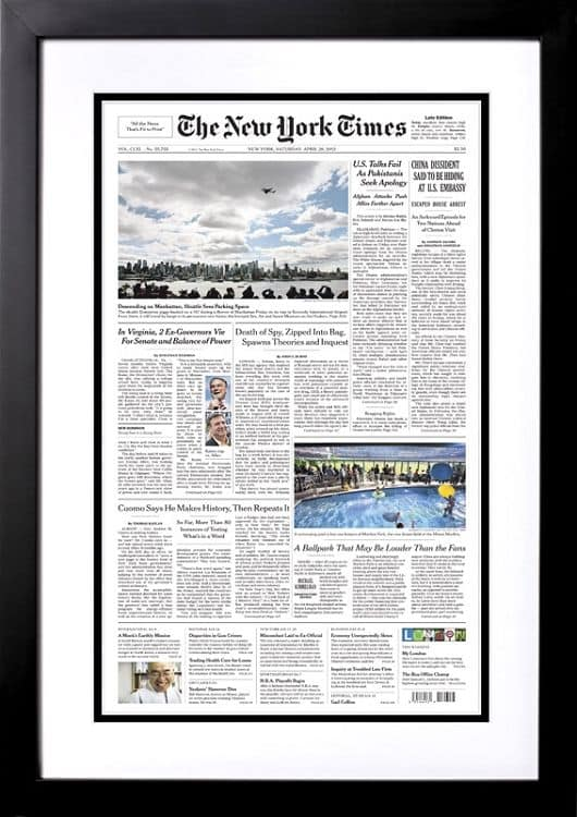 Unique milestone birthday gift ideas - Looking for a milestone birthday present for the man or woman who has everything? Impress him or her with a reprint of The New York Times front page from the day he or she was born!