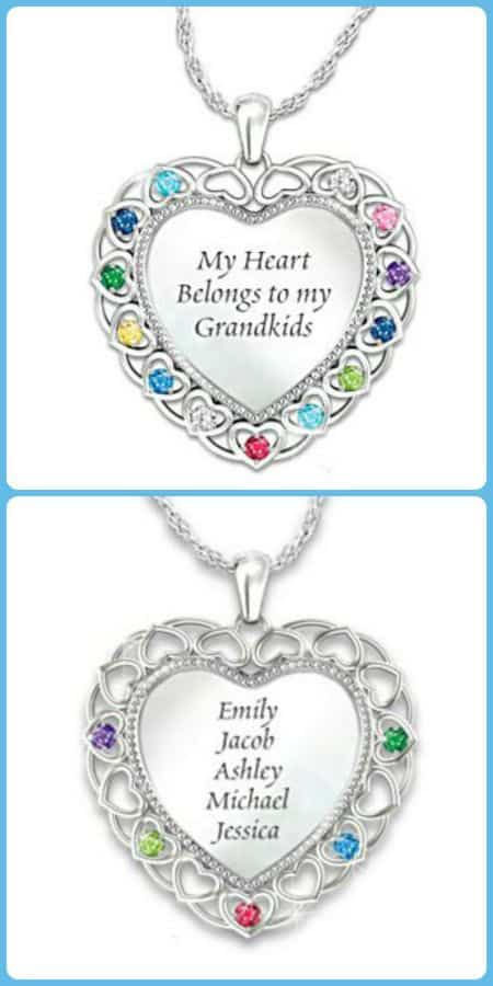 75th Birthday Jewelry for Grandma - Celebrate the grandma who is turning 75 with this stunning personalized necklace! Heart shaped charm features up to 15 grandkids' names and birthstones. A 75th birthday present that Grandma will treasure forever! #75thBirthdayIdeas.com #birthdaygifts #giftsforher