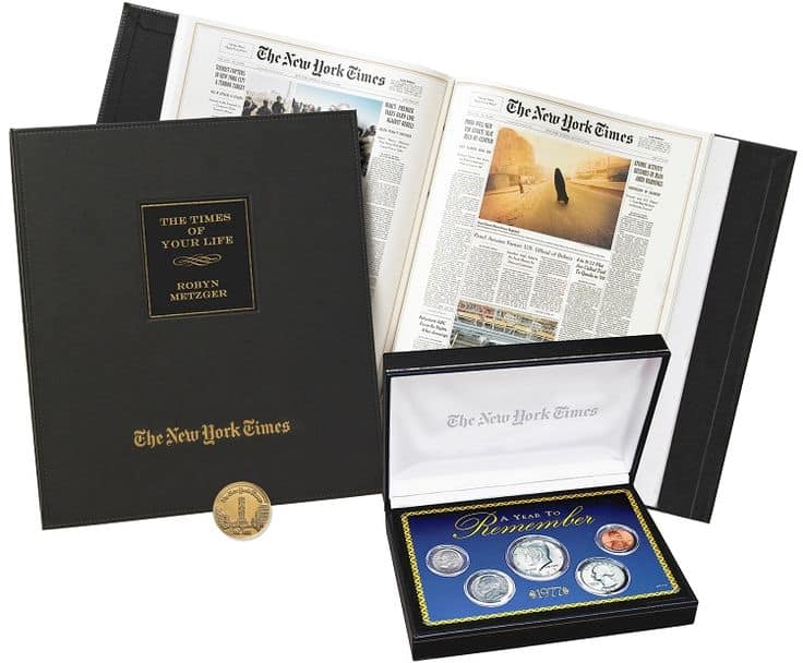 75th Birthday New York Times Front Page Newspaper Book with Coin Set