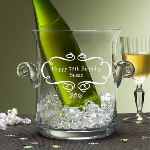 Personalized 75th Birthday Crystal Wine Chiller