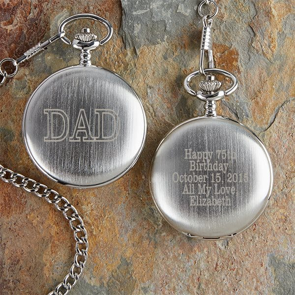 Personalized 75th Birthday Pocket Watch