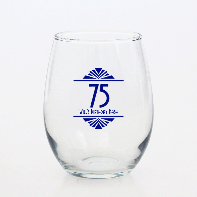 75th Birthday Personalized Wine Glass Party Favors - Choice of Styles