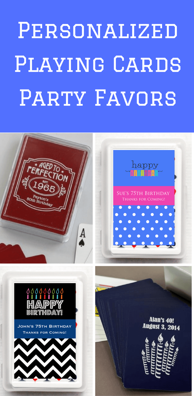 Birthday Party Favors - Personalized playing cards party favors are unique and fun for both kids and adults!