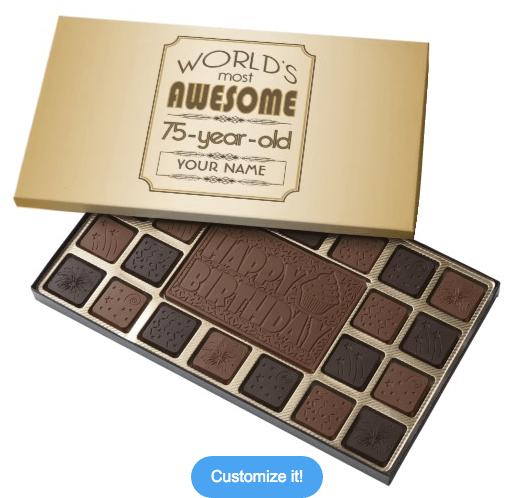 Personalized 75th Birthday Box of Chocolates