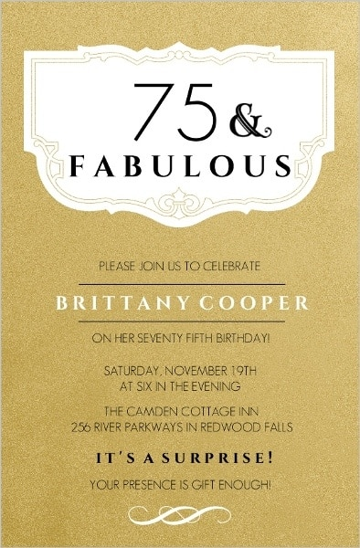 75th birthday invitations 50 gorgeous 75th party invites 75 and fabulous invitation stopboris Image collections