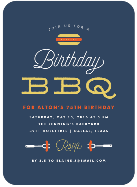 Funny 75th Birthday BBQ Party Invitations